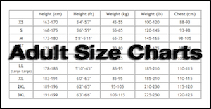 Adult size charts